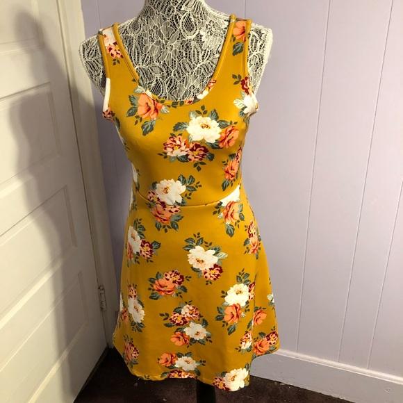 no comment Dresses & Skirts - Mustard floral dress
